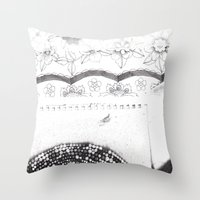 notebook Throw Pillows featuring Notebook Collage by Ellie And Ada