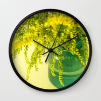 golden Wall Clocks featuring Golden by Olivia Joy StClaire
