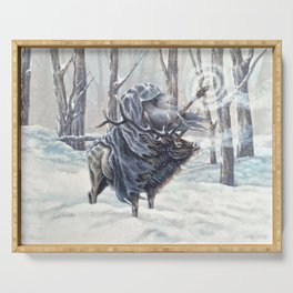 Wizard Riding an Elk in the Snow Serving Tray