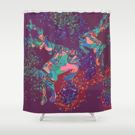 Purple deer for Christmas Shower Curtain