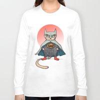superhero Long Sleeve T-shirts featuring SUPERHERO CAT by evafialka