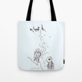 Two Tailed Duck and Jellyfish Pale Blue Tote Bag