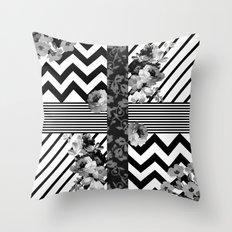 Trendy Black and White Floral Lace Stripes Chevron Throw Pillow