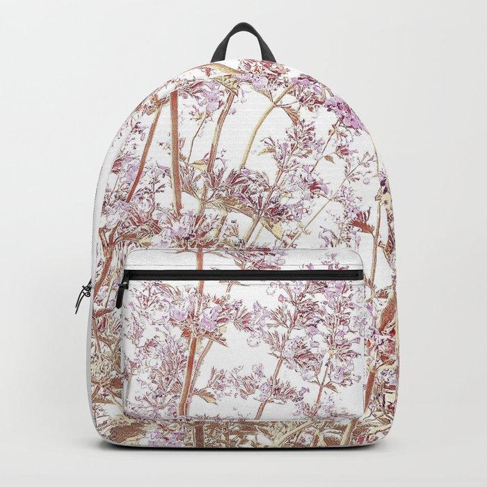 Soft Pink Wild Summer Flowers Backpack