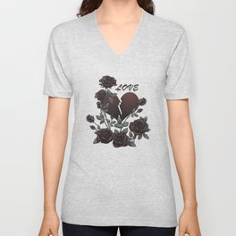 Black Roses Broken Heart Lost Love Unisex V-Neck