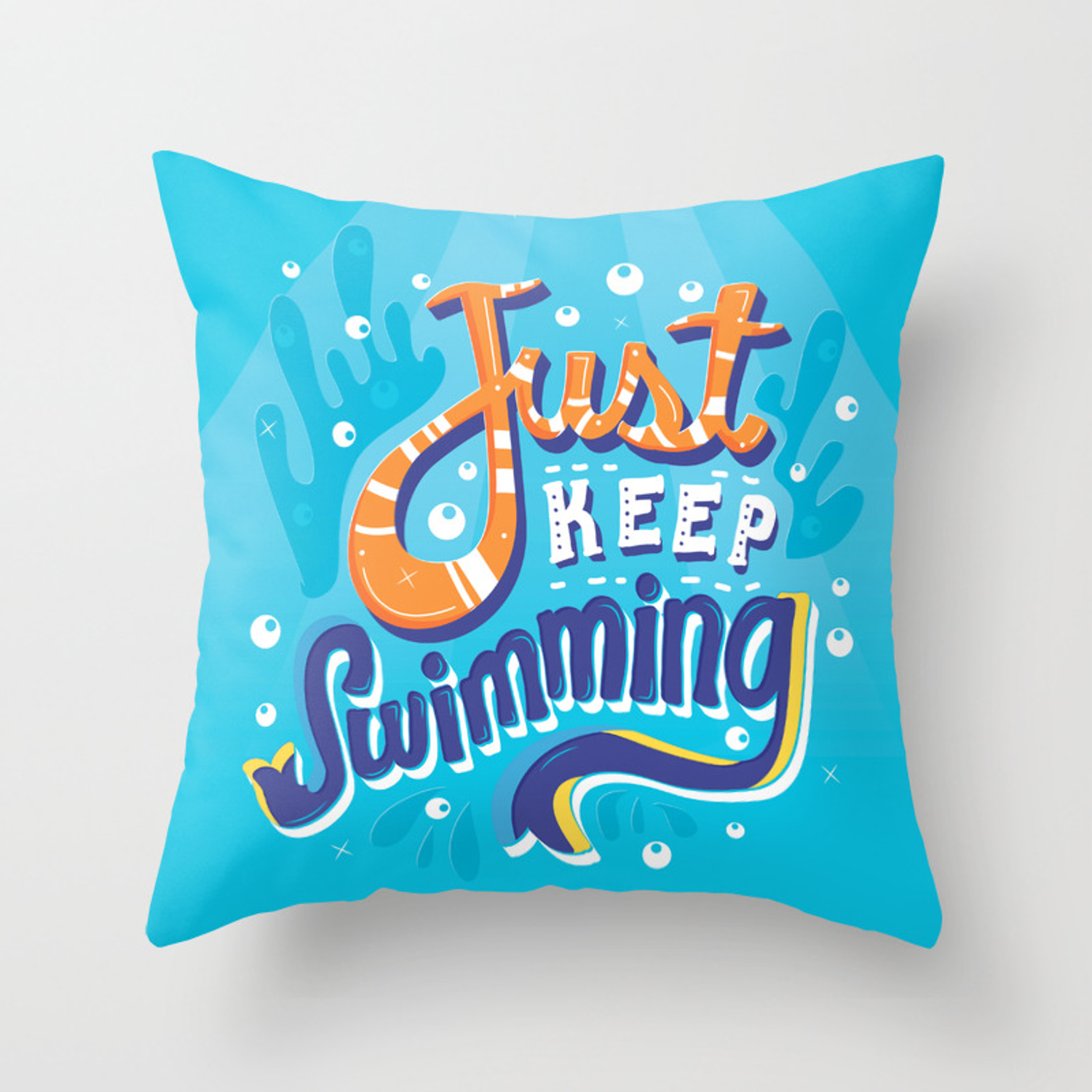 Just Keep Swimming Throw Pillow By Risarodil Society6
