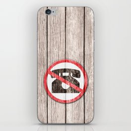 "Funny wood ""No"" Phone wooden background iPhone Skin"