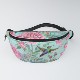 Vintage Watercolor hummingbird and English Roses Fanny Pack