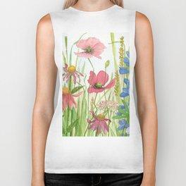Watercolor Garden Flower Poppies Lupine Coneflower Wildflower Biker Tank