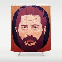tom selleck Shower Curtains featuring Tom Hardy by Amanda Corbett