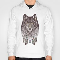 wind Hoodies featuring Wind Catcher Wolf by Rachel Caldwell