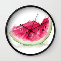 watermelon Wall Clocks featuring Watermelon by Bridget Davidson