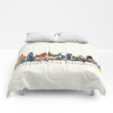 Philadelphia skyline comic Comforters