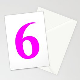6 (FUCHSIA & WHITE NUMBERS) Stationery Cards