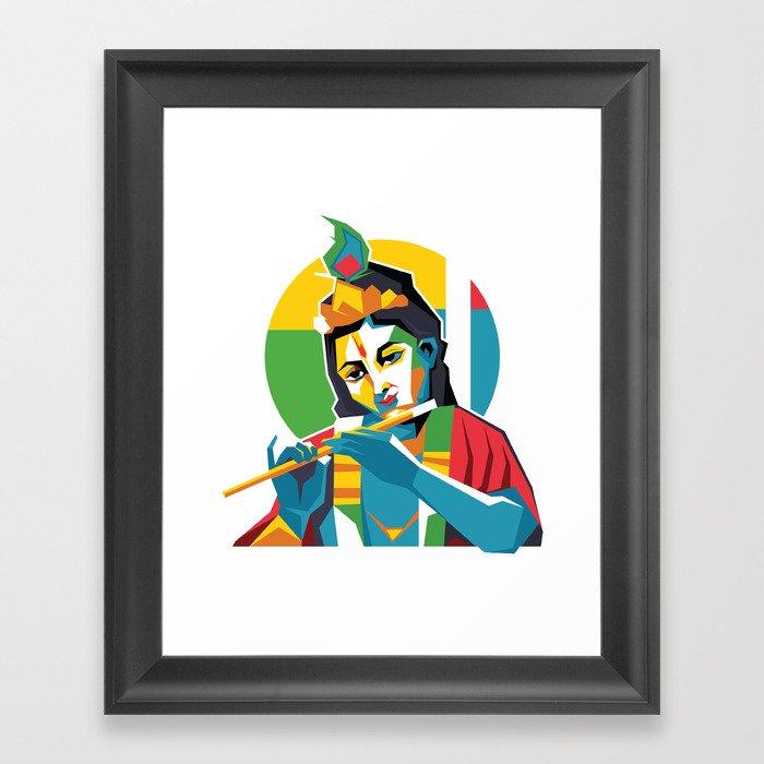 Lord Krishna - Hindu God - Geometric Avatar Framed Art Print by hinducloud