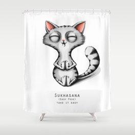 yoga cat sukhasana Shower Curtain