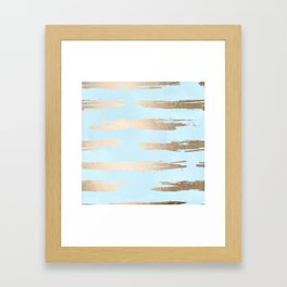 Abstract Paint Stripes Gold Tropical Ocean Sea Turquoise Framed Art Print