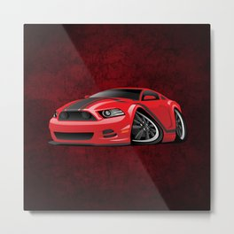 Modern American Muscle Car Cartoon Metal Print