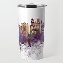 Reims skyline in watercolor background Travel Mug