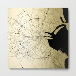 Dublin Ireland Green on White Street Map Metal Print