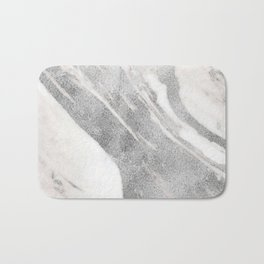 Marble - Silver Glitter on White Metallic Marble Pattern Bath Mat