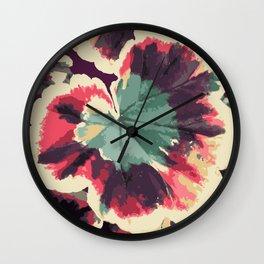Colorful Geranium Illustrated Print Wall Clock