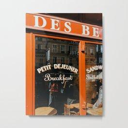 Red Cafe terrace in Paris, France | Restaurant, petit dejeuner | Travel photography fine art Metal Print