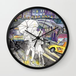 Kissing in New York City Wall Clock