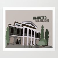 haunted mansion Art Prints featuring new Orleans square.. haunted mansion by studiomarshallarts