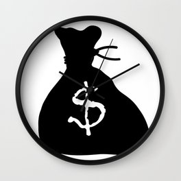 Bag Of Cash Isolated Wall Clock