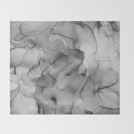 Black and White Marble Ink Abstract Painting Throw Blanket