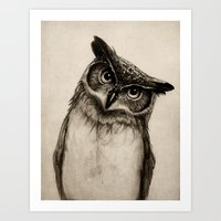dude Art Prints featuring Owl Sketch by Isaiah K. Stephens