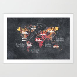world map 113 #map #worldmap Art Print