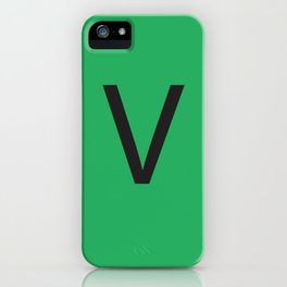 Letter V Initial Monogram - Black on Nephritis iPhone Case