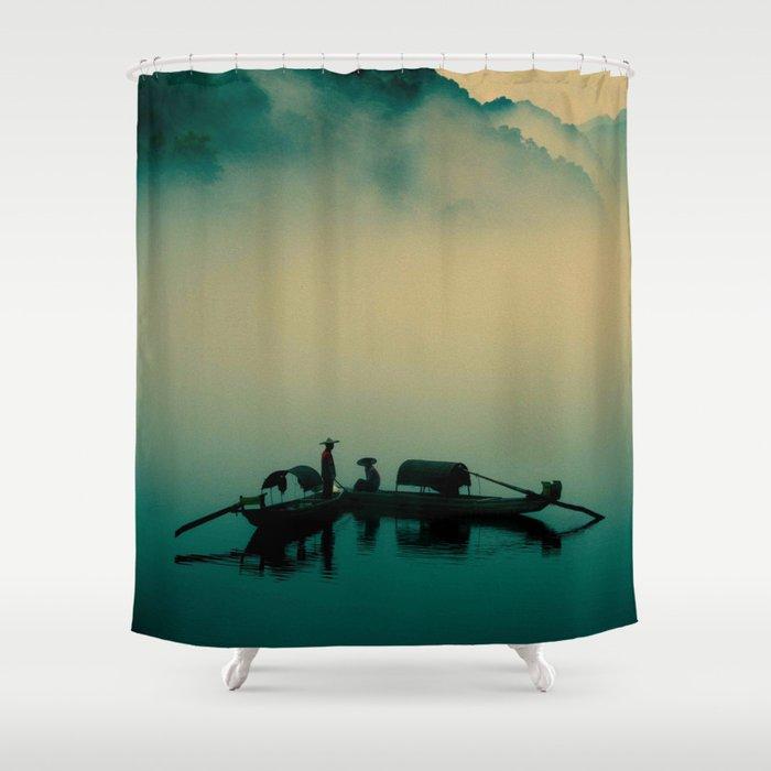 Junk ship Chinese Boat Shower Curtain by jsebouvi   Society6