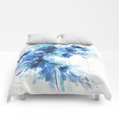 Blue Watercolor Floral Comforters