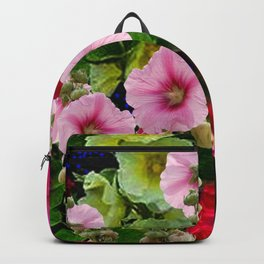 COLORFUL PINK ENGLISH HOLLYHOCKS GARDEN  COLLECTION Backpack