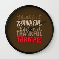 thanksgiving Wall Clocks featuring Thanksgiving, Black Friday by Chris Piascik
