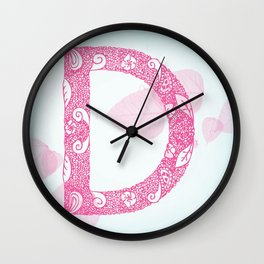 Floral Letter 'D' Wall Clock