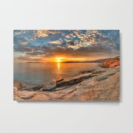 The sunset from a rocky location in Andros, Greece Metal Print