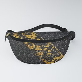 Old Yellow painted line on asphalt road Fanny Pack