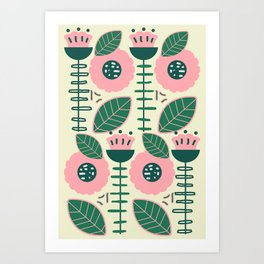 Modern flowers and leaves Art Print