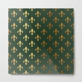 Green and Metallic Gold Fleur-de-lis Metal Print