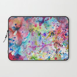 Abstract Bright Watercolor Paint Splatters Pattern Laptop Sleeve