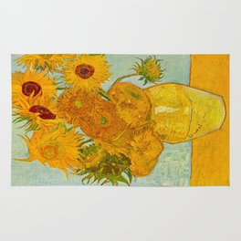 Sunflowers Oil Painting By Vincent van Gogh Rug