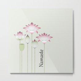 Modern Vintage Pink Lotus Flower Metal Print
