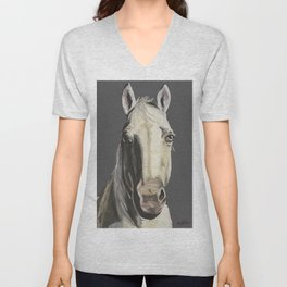 Horse Art, Grey Horse Art, Farm Animal Art Unisex V-Neck