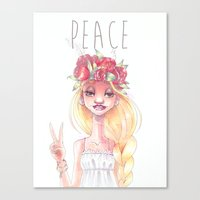 hippie Canvas Prints featuring Hippie by Meldoodles