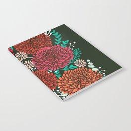 Chrysanthemums - Floral, Flower, Vintage, Design, Illustration by Andrea Lauren Notebook