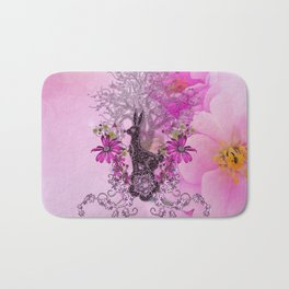 Funny easter bunny with flowers Bath Mat